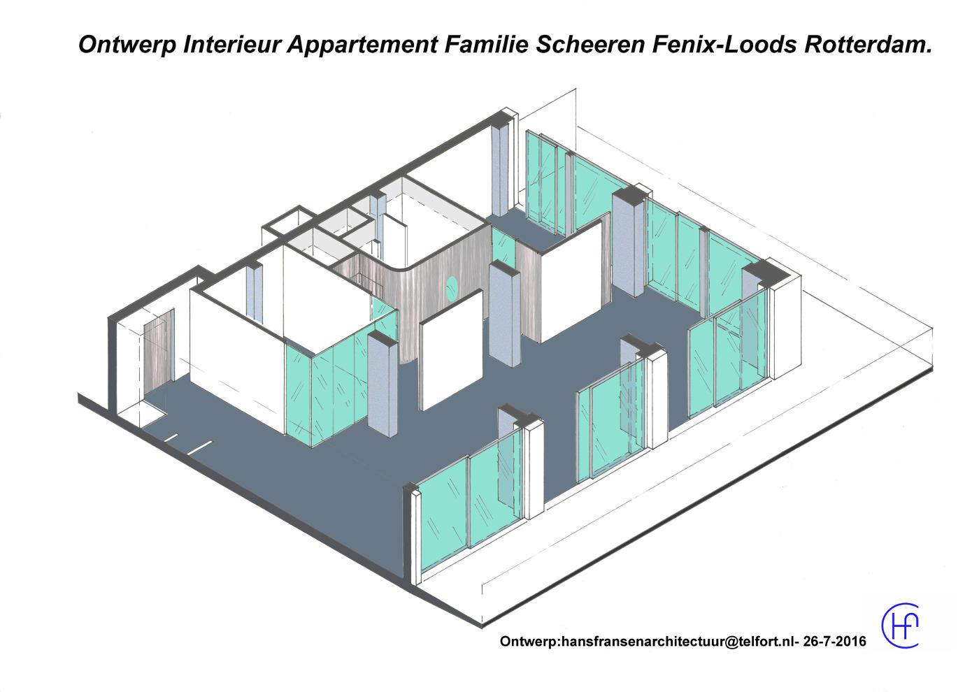 Ontwerp appartement Fenixloods Rotterdam 2016